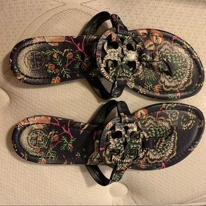 Authentic Tory Burch Miller Floral Sandals